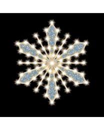 """Glittered-Filled Snowflake, 30"""", 65 Bulbs, LED"""