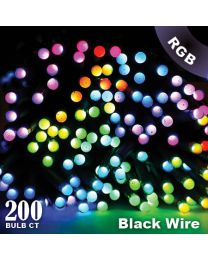 "Twinkly Pro - RGB Capsule - 200 Lights - 4"" Spacing - Black Wire - Dual Line"