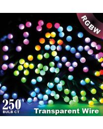"Twinkly Pro - RGBW Capsule - 250 Lights - 4"" Spacing - Transparent Wire - Single Line"