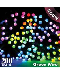 "Twinkly Pro - RGBW Capsule - 200 Lights - 4"" Spacing - Green Wire - Dual Line"