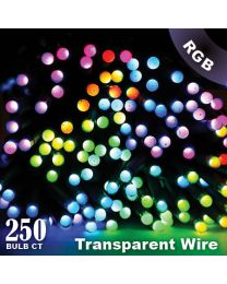 "Twinkly Pro - RGB Capsule - 250 Lights - 4"" Spacing - Transparent Wire - Single Line"