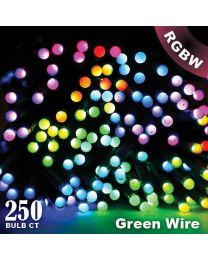 "Twinkly Pro - RGBW Capsule - 250 Lights - 4"" Spacing - Green Wire - Single Line"