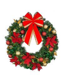 """24"""" Decorated Wreath, Elegant Poinsettia, Lit"""