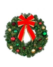 "24"" Decorated Wreath, Colors of the Holidays, Lit"