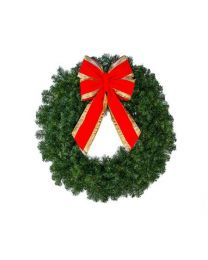 """30"""" Unlit Deluxe Oregon Fir Wreath, with or without Bow"""