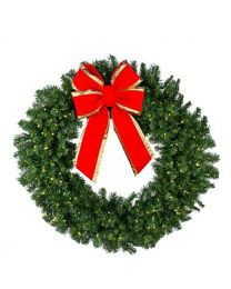 "72"" Deluxe Oregon Fir Wreath, Lit"