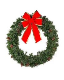 """84"""" Unlit Deluxe Mixed Pine Wreath - Bow Option Available"""