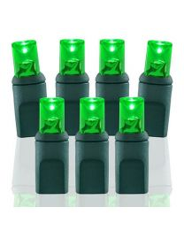 "50 Light Green 5 mm Wide Angle Conical LED Christmas Lights - 4"" Spacing"