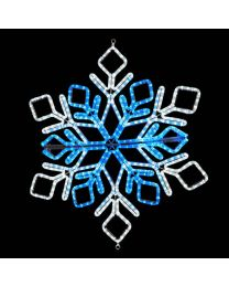 "36"" Foldable Star Snowflake - Pure White and Blue"