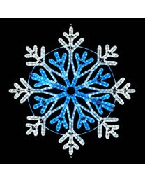 "36"" Foldable Frost Snowflake - Pure White and Blue"