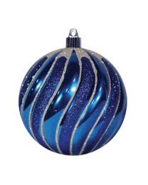 "4 3/4"" Swirled Ball - Shiny Blue w/Blue Glitter Swirls"