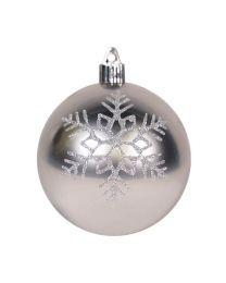"""4"""" Shiny Silver w/Silver Triple Snowflake"""