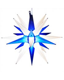 """14"""" Moravian Star, Blue and White"""