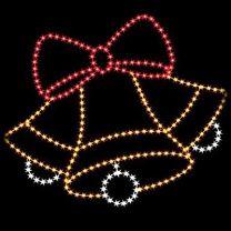 9' Silhouette Triple Bells w/ Bow, LED