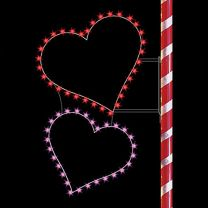 6' Silhouette Double Hearts, LED