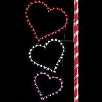 8' Silhouette Triple Hearts, LED
