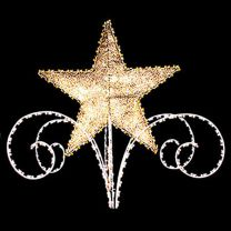 3D Star and Scroll Tree Topper, LED