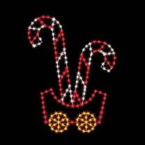 7' Silhouette Candy Cane Car, LED