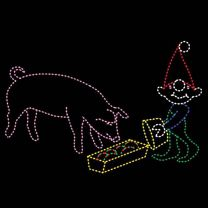 13' x 19' Elf Feeding Pig, LED