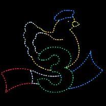 Animated 10' x 13' Three French Hens, LED