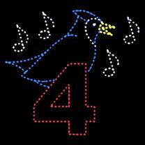 Animated 10' x 11 1/2' Four Calling Birds, LED