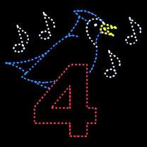 10' x 11 1/2' Four Calling Birds, LED