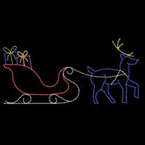 14' x 30' Sleigh and Reindeer, LED