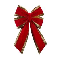 """12"""" Red Velvet with Gold Trim Christmas Bow"""