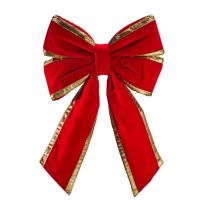 """18"""" Red Velvet with Gold Trim Christmas Bow"""