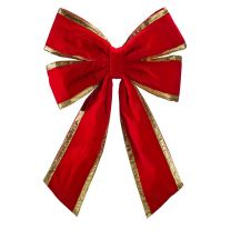 """24"""" Red Velvet with Gold Trim Christmas Bow"""