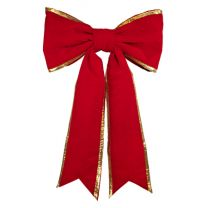 """36"""" Red Velvet with Gold Trim Christmas Bow - Two Loops"""