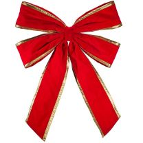 """48"""" Red Velvet with Gold Trim Christmas Bow"""