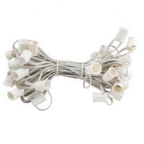 """C9 Cord, 9"""" Spacing, White Wire, SPT-1, 50'"""