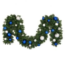 """Decorated 9' x 14"""" Garland Unlit, Blue and Silver"""
