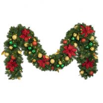 """Decorated 9' x 14"""" Garland Lit, Elegant Poinsettia"""