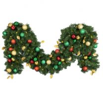 """Decorated 9' x 18"""" Garland Lit, Traditional"""