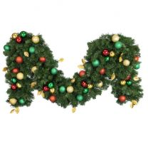 """Decorated 9' x 18"""" Garland Unlit, Traditional"""