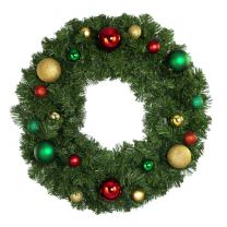 """24"""" Unlit Decorated Wreath - Colors of the Holidays - Bow Option Available"""