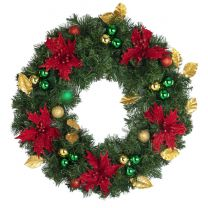 "24"" Unlit Decorated Wreath - Elegant Poinsettia - Bow Option Available"