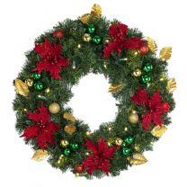 "24"" Lit LED Warm White Decorated Wreath - Elegant Poinsettia - Bow Option Available"