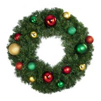 """30"""" Lit LED Warm White Decorated Wreath - Colors of the Holidays - Bow Option Available"""