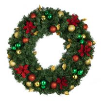 "36"" Unlit Decorated Wreath - Elegant Poinsettia - Bow Option Available"