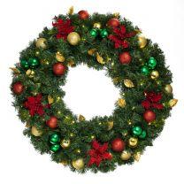 "36"" Lit LED Warm White Decorated Wreath - Elegant Poinsettia - Bow Option Available"