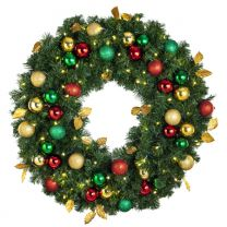 """36"""" Lit LED Warm White Decorated Wreath - Traditional Décor - Bow Option Available"""
