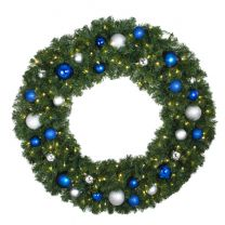 """48"""" Lit LED Warm White Decorated Wreath - Blue and Silver Décor - Bow Option Available"""