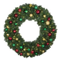 """48"""" Lit LED Warm White Decorated Wreath - Colors of the Holidays - Bow Option Available"""