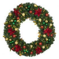 "48"" Lit LED Warm White Decorated Wreath - Elegant Poinsettia - Bow Option Available"