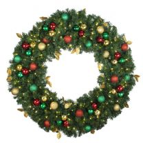 """48"""" Lit LED Warm White Decorated Wreath - Traditional Décor - Bow Option Available"""