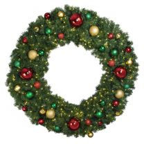 """60"""" Lit LED Warm White Decorated Wreath - Colors of the Holidays - Bow Option Available"""