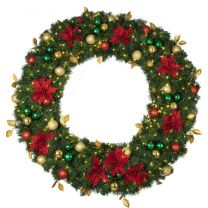 "60"" Lit LED Warm White Decorated Wreath - Elegant Poinsettia - Bow Option Available"